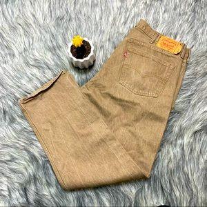 Levi's 501 Straight Fit Leg Jeans Tan Size 42x34